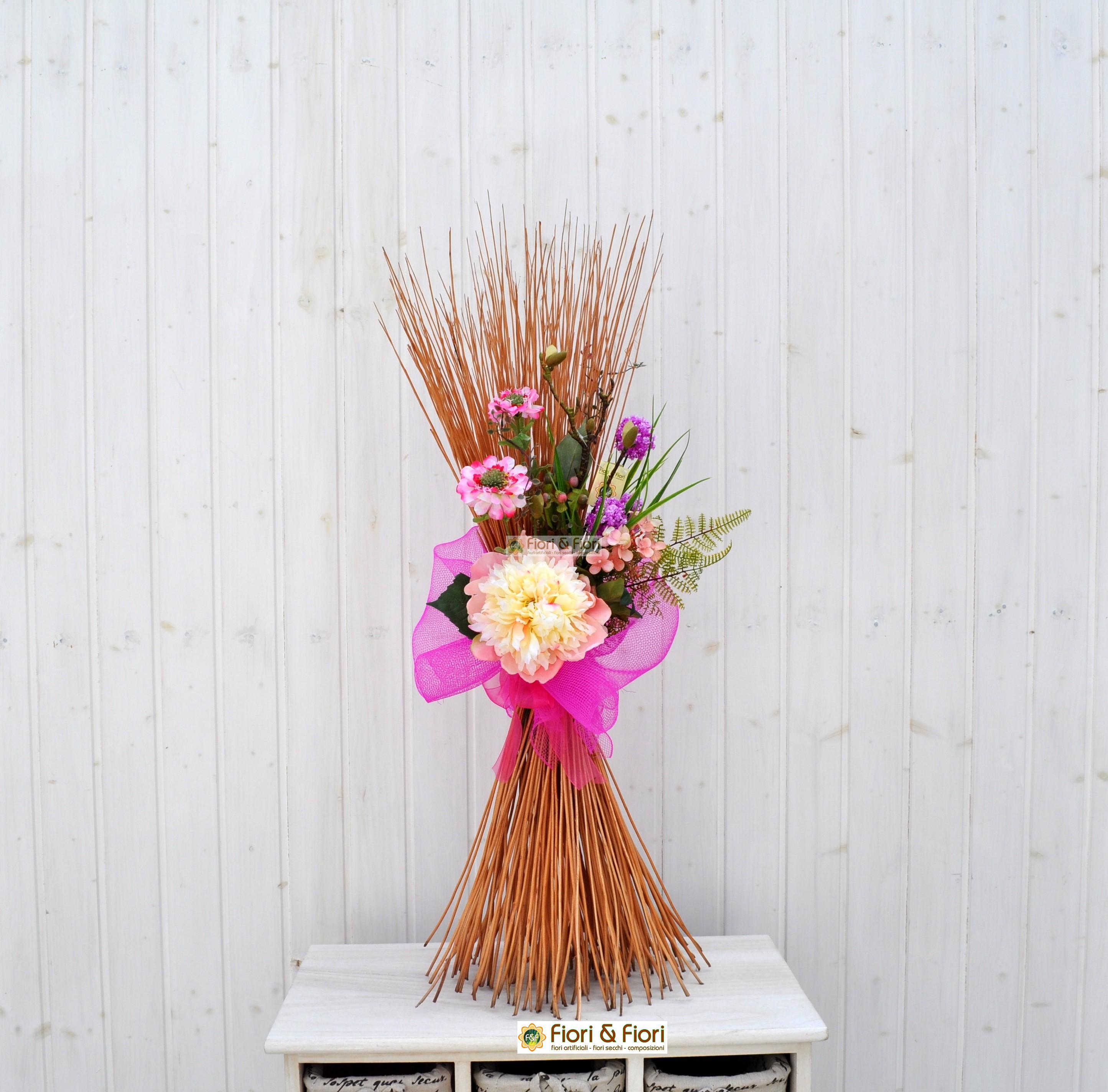 Composizione fiori artificiali fresh rosa for Arredare con fiori finti