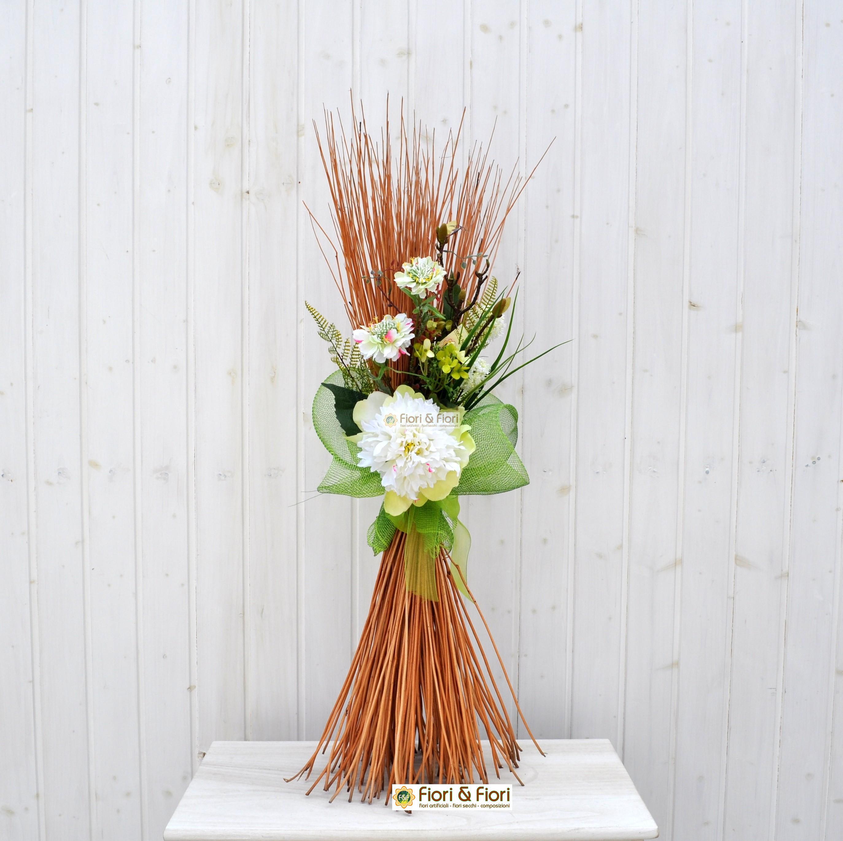 Composizione fiori artificiali fresh per allestimenti floreali - Centrotavola natalizi con fiori finti ...