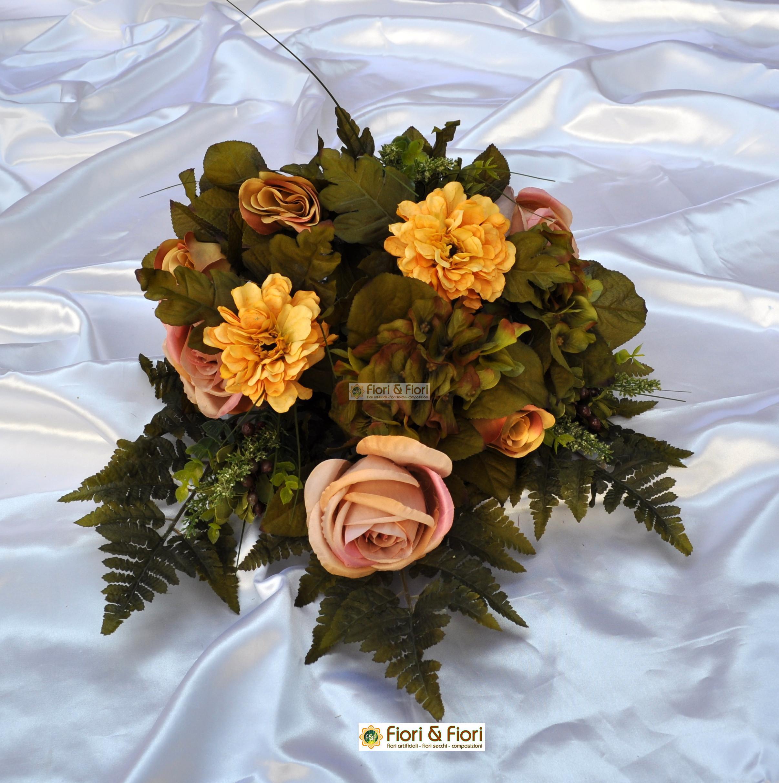 Bouquet fiori artificiali carolina giallo per cimitero e for Fiori artificiali