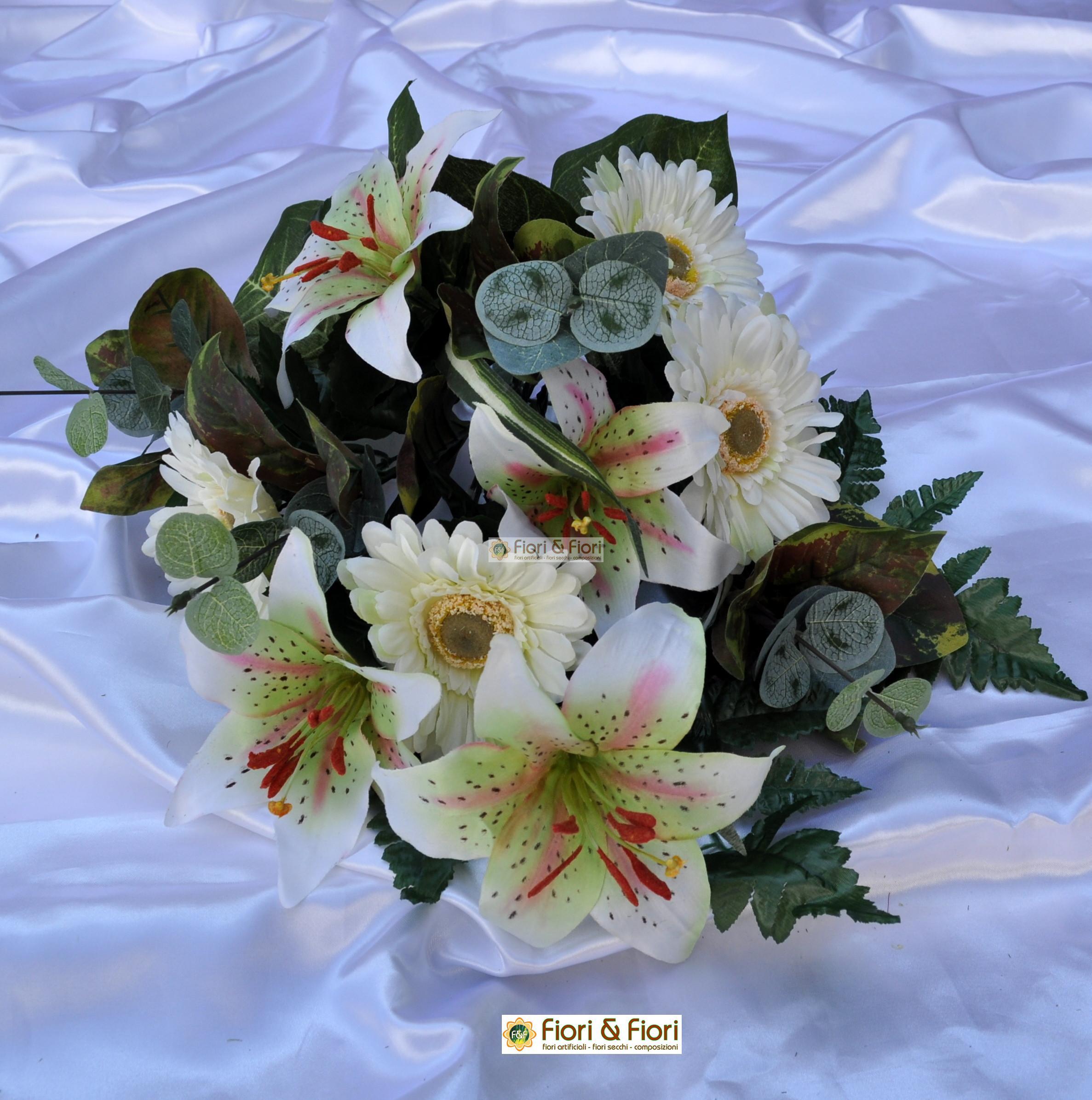 Bouquet fiori finti giglio e gerbera bianco per for Fiori artificiali