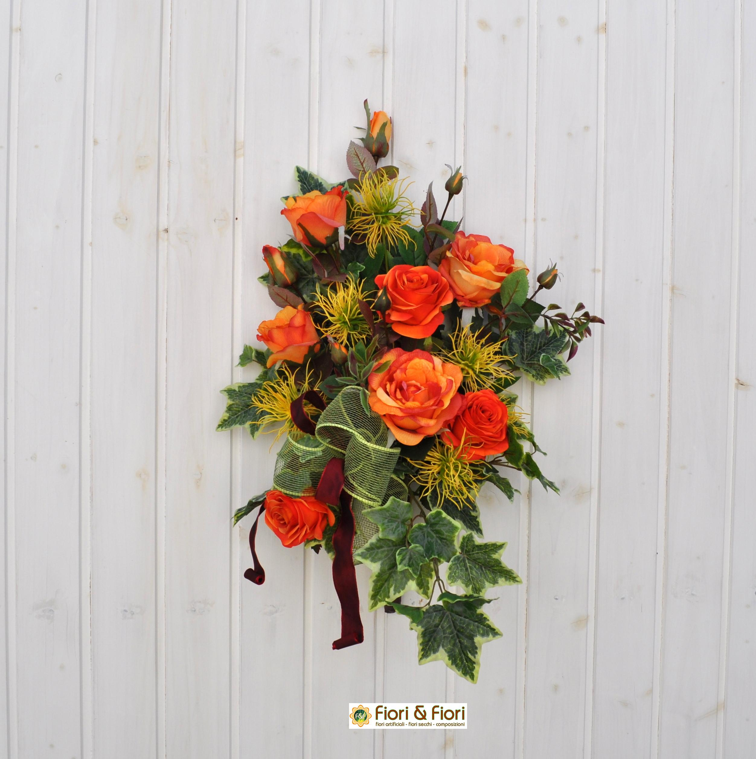 Bouquet fiori artificiali Margaret arancio