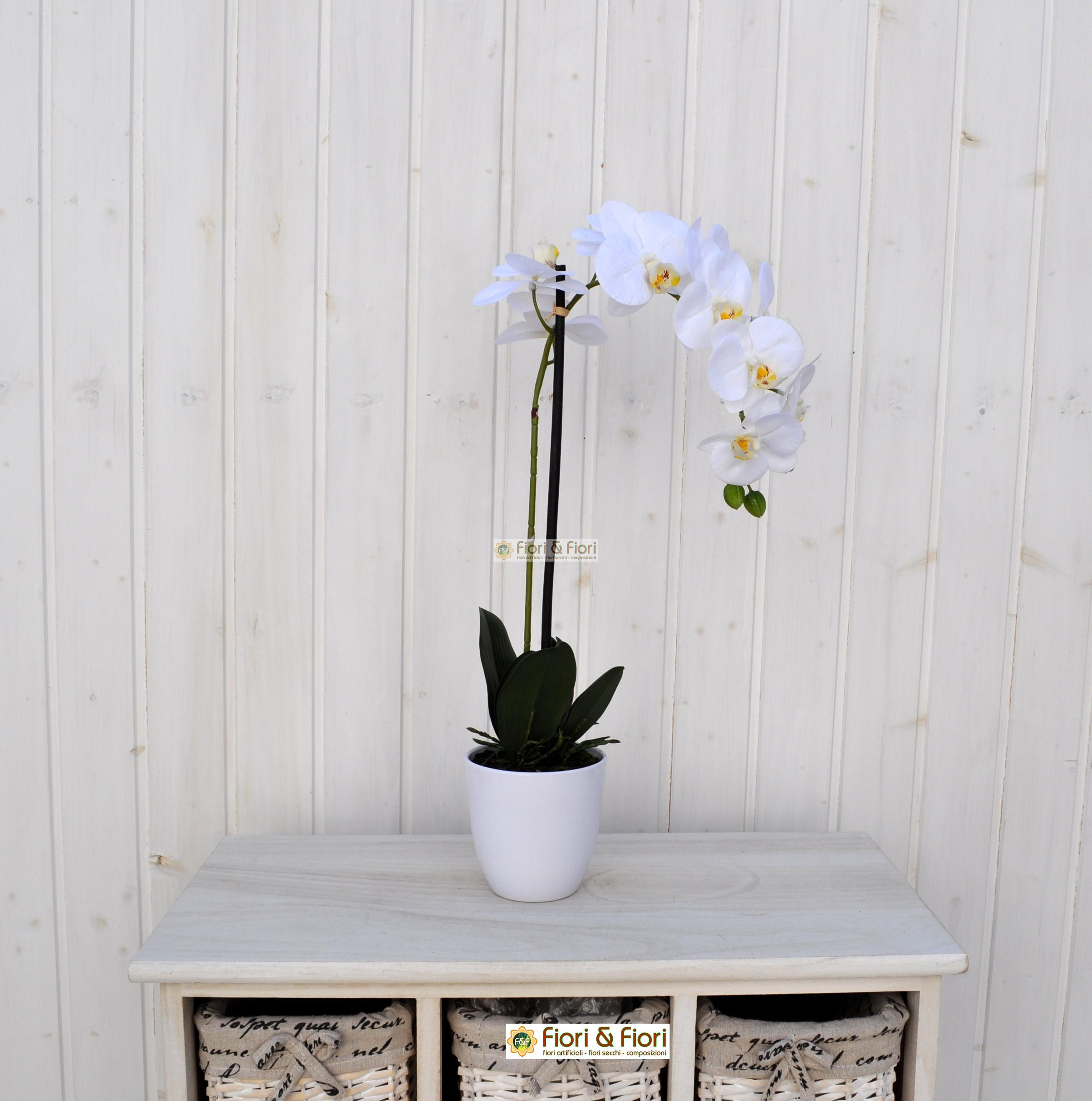 Orchidea phalaenopsis artificiale real touch bianco for Orchidea finta
