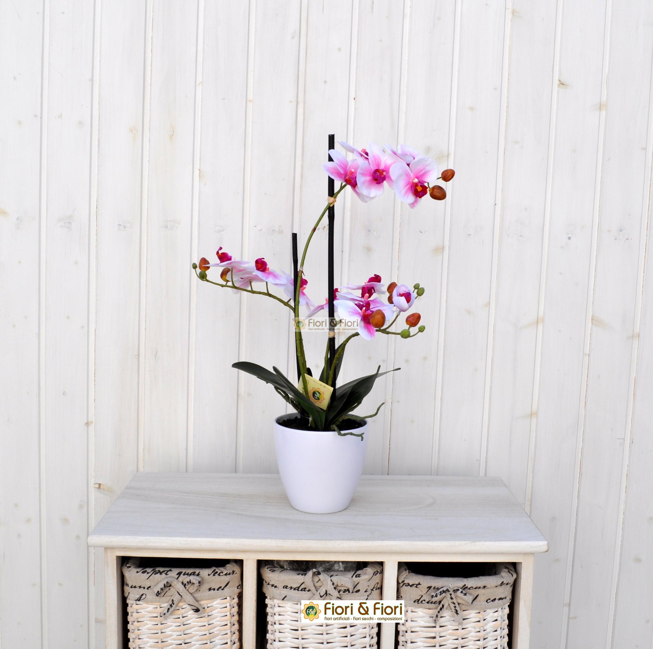 Pianta artificiale phalaenopsis real touch rosa in tessuto for Rosa pianta