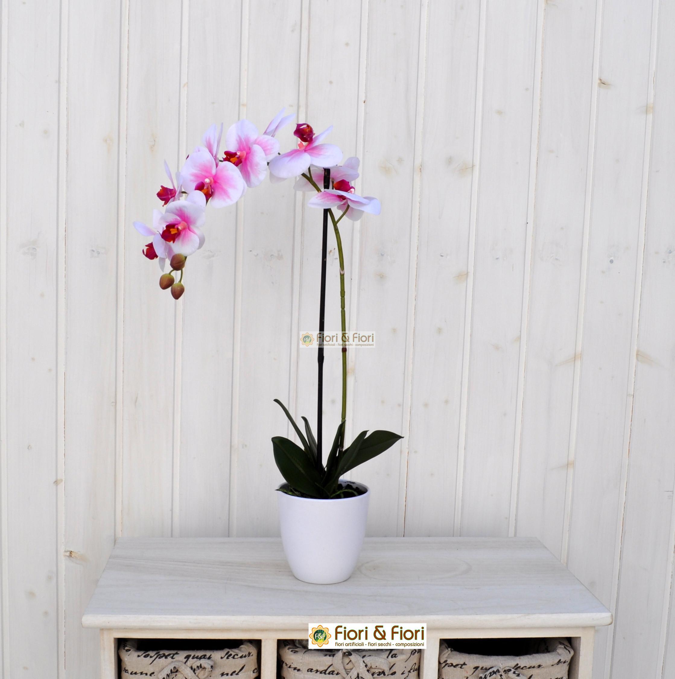 Orchidea phalaenopsis artificiale real touch rosa per for Orchidea finta