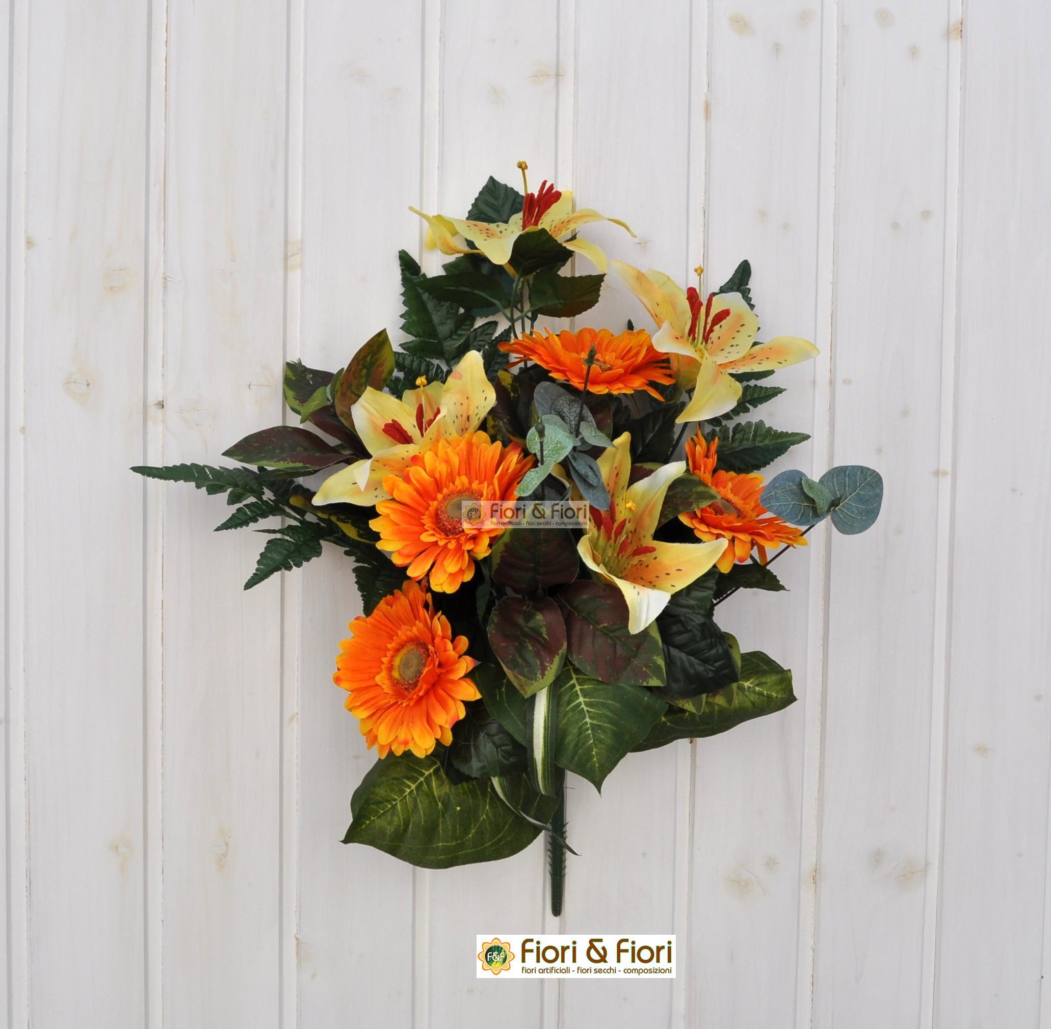 Bouquet fiori finti giglio e gerbera arancio per cimitero for Fiori gerbere
