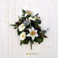 bouquet fiori finti giglio e gerbera bianco