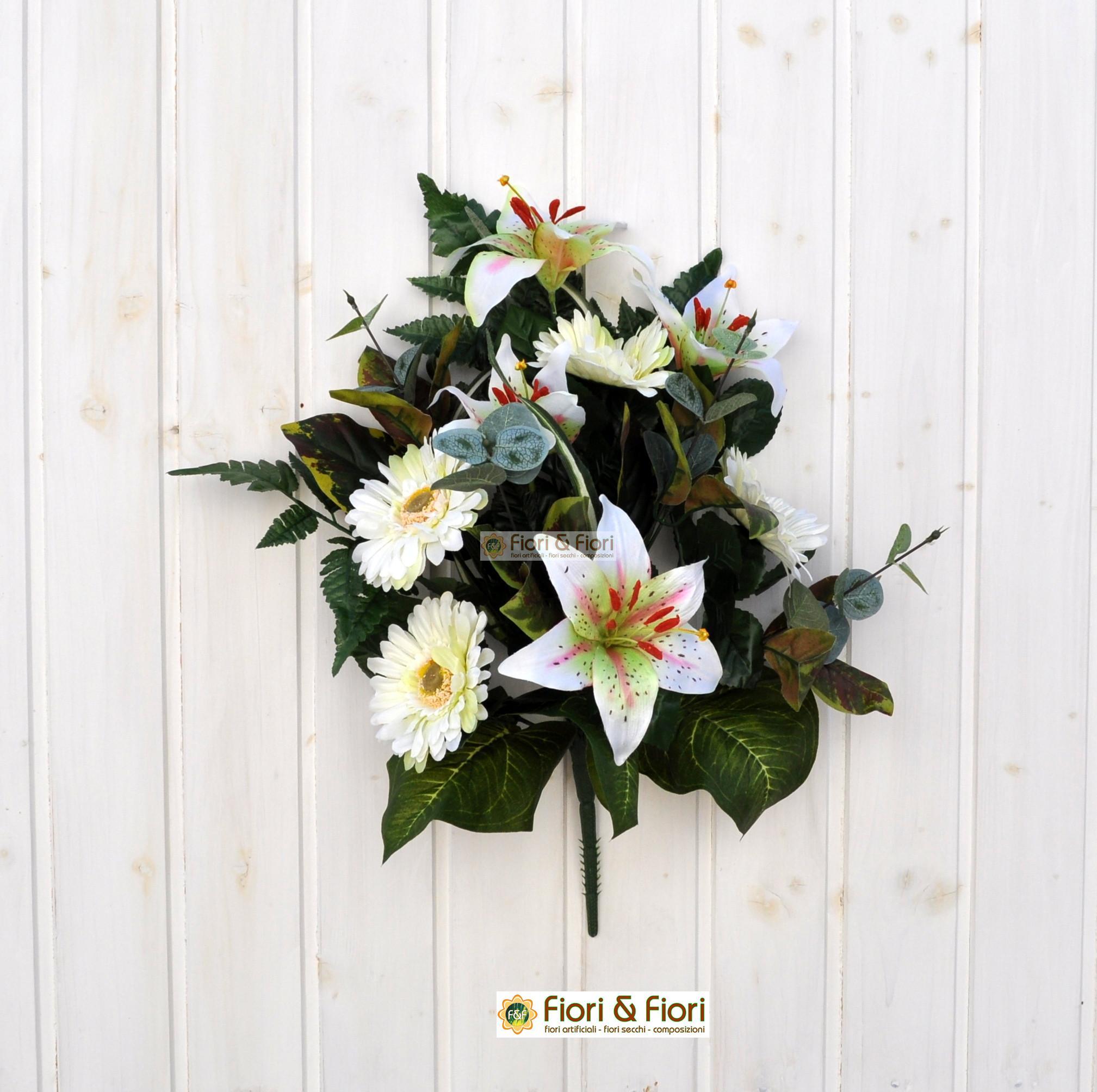 Bouquet fiori finti giglio e gerbera bianco per - Decorazioni fiori finti ...