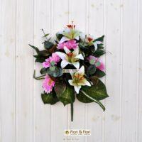 Bouquet fiori finti Giglio e Gerbera rosa