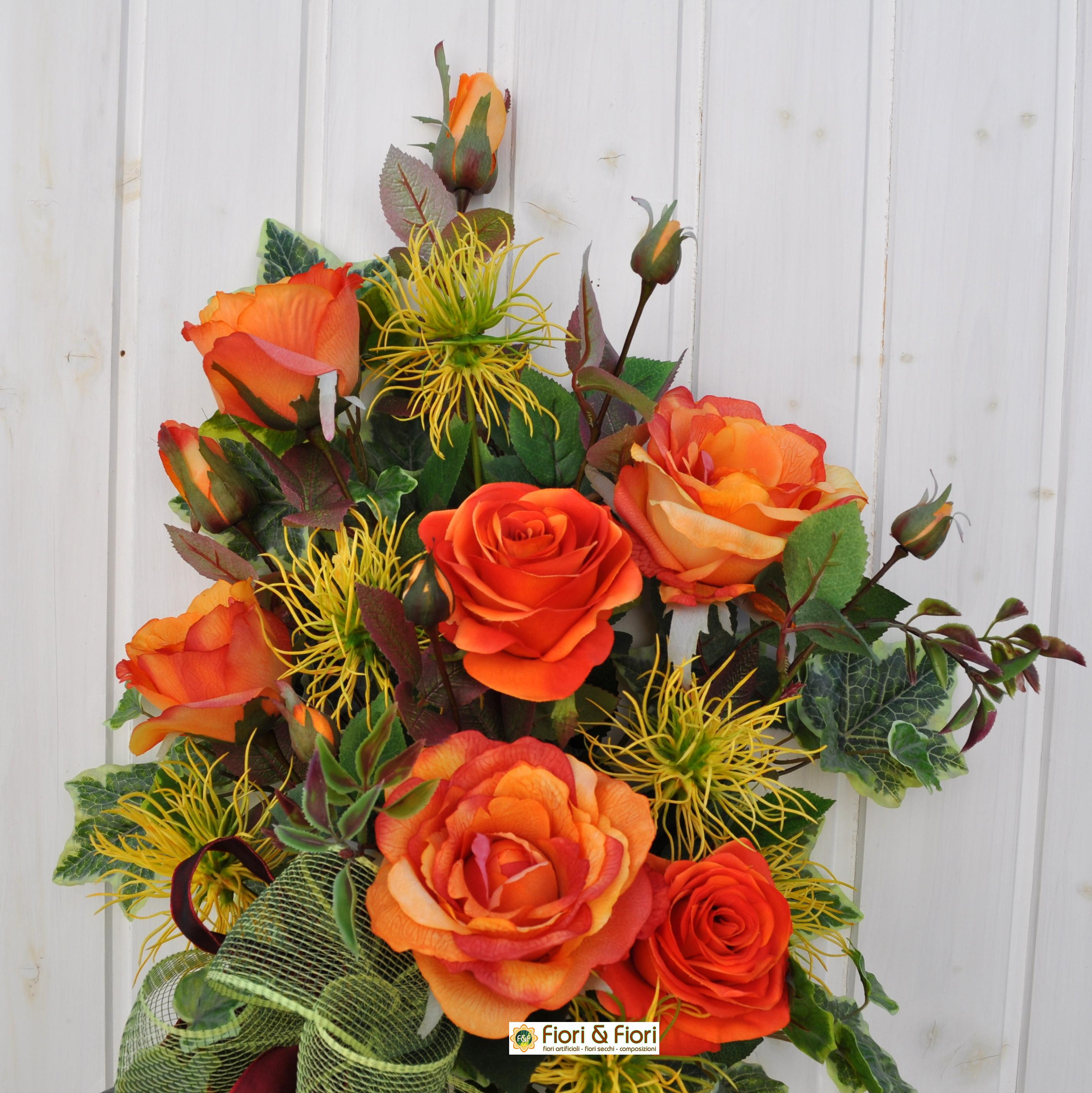 Bouquet Fiori Artificiali Margaret Arancio Per Cimitero E