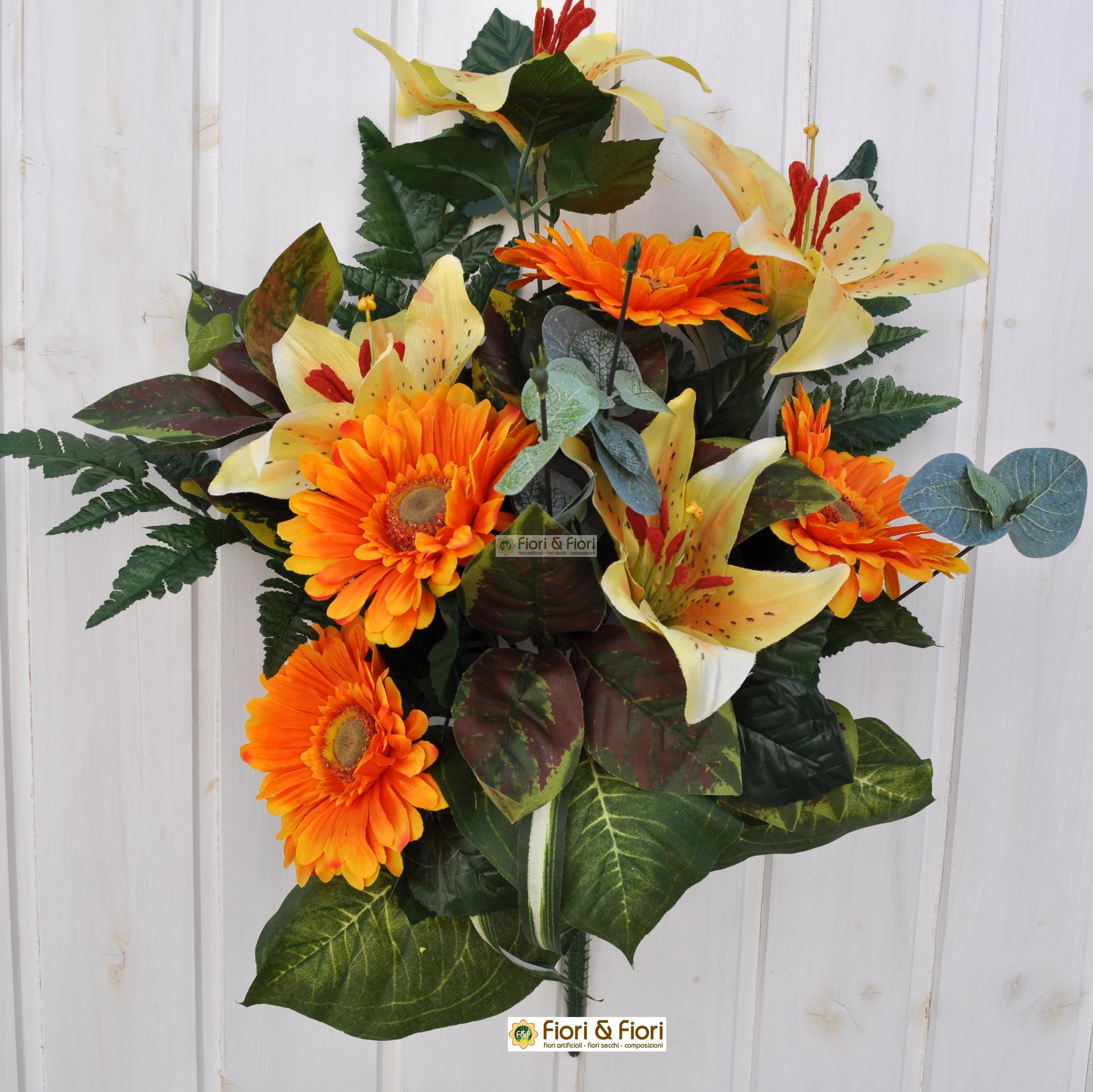 Bouquet fiori finti Giglio e Gerbera arancio per cimitero