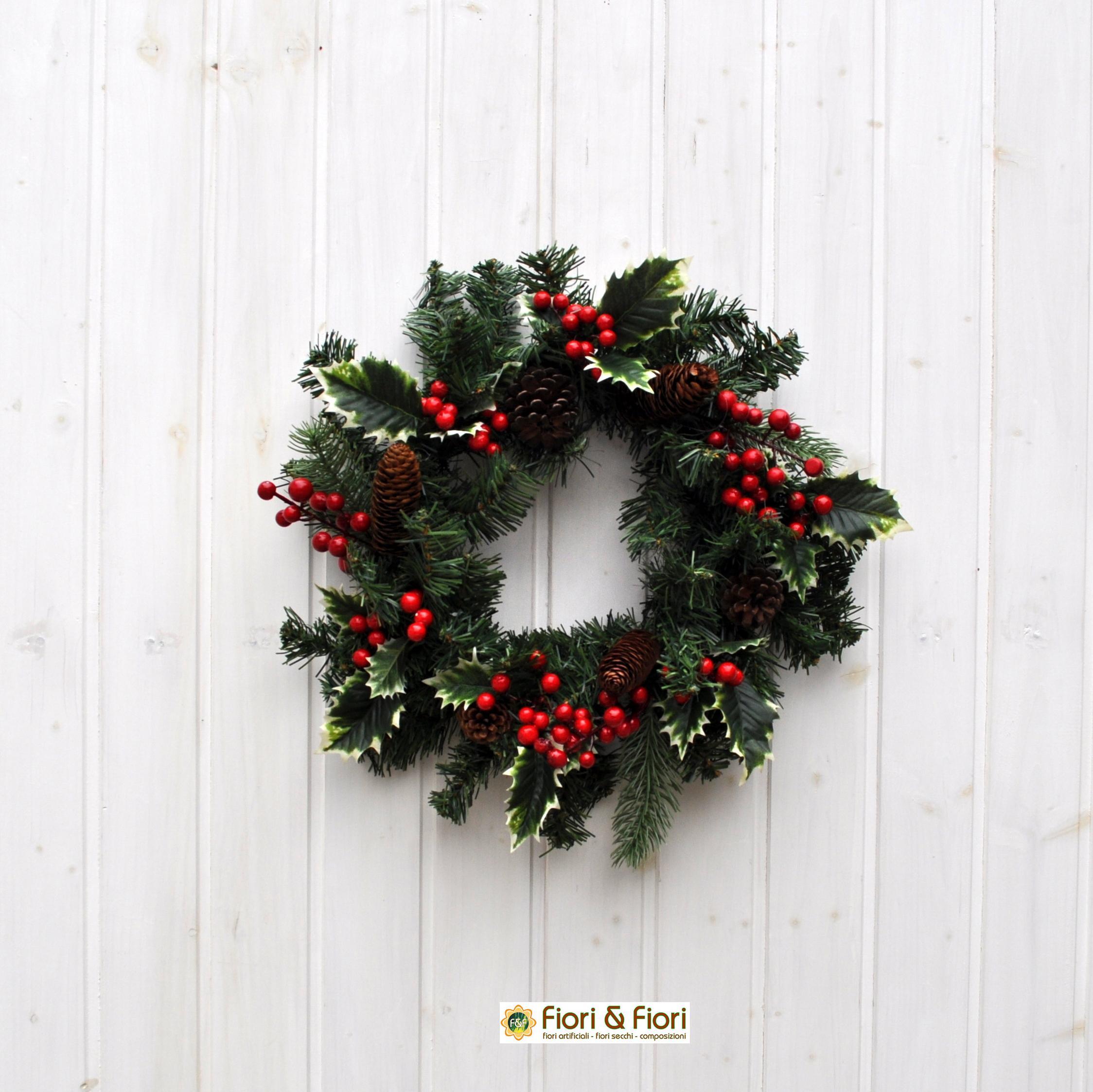 Corona bacche agrifoglio per decorazioni floreali natalizie - Decorazioni fiori finti ...
