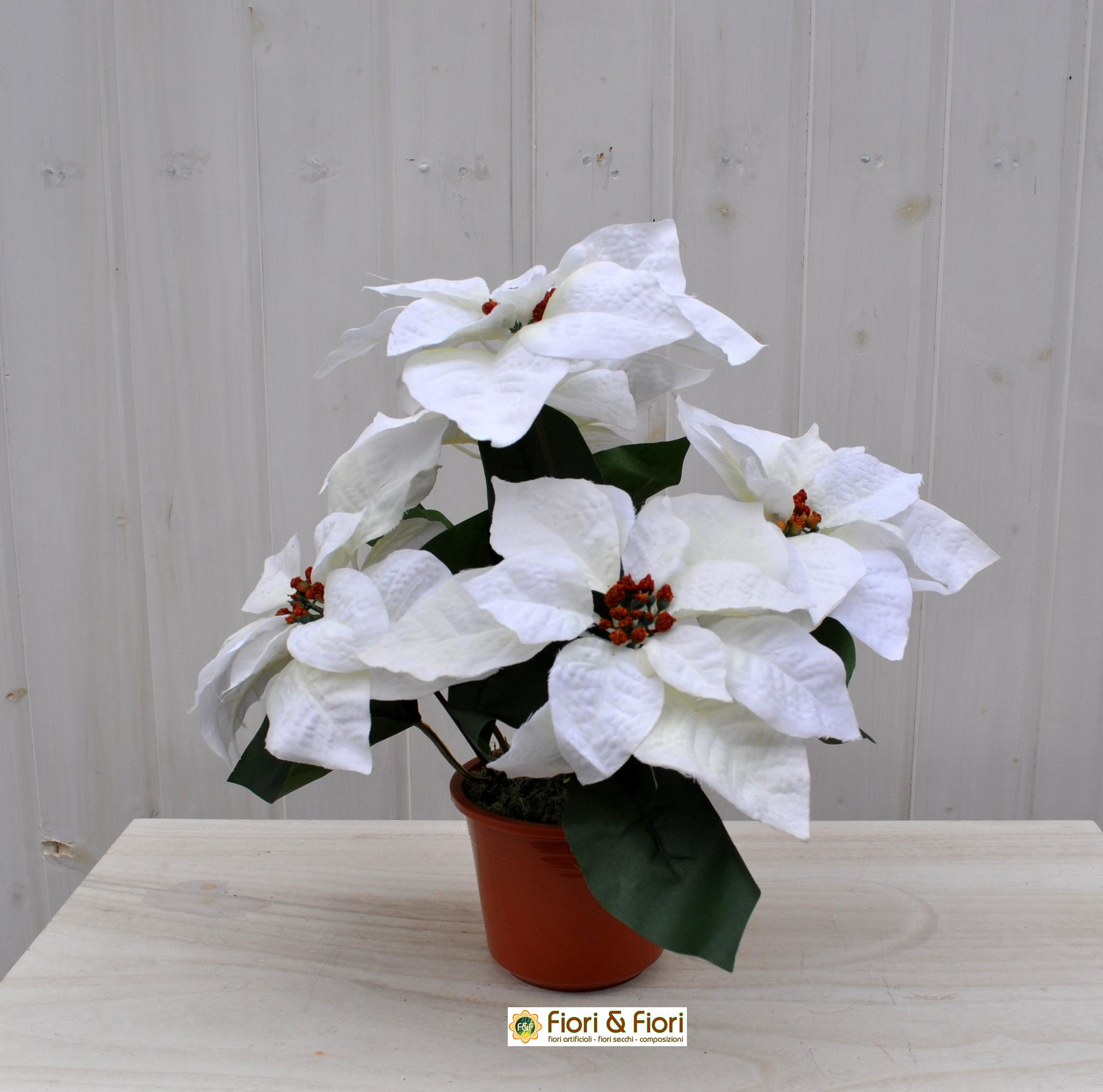 Stella di natale artificiale bianca grande per decorazioni for Stelle di natale