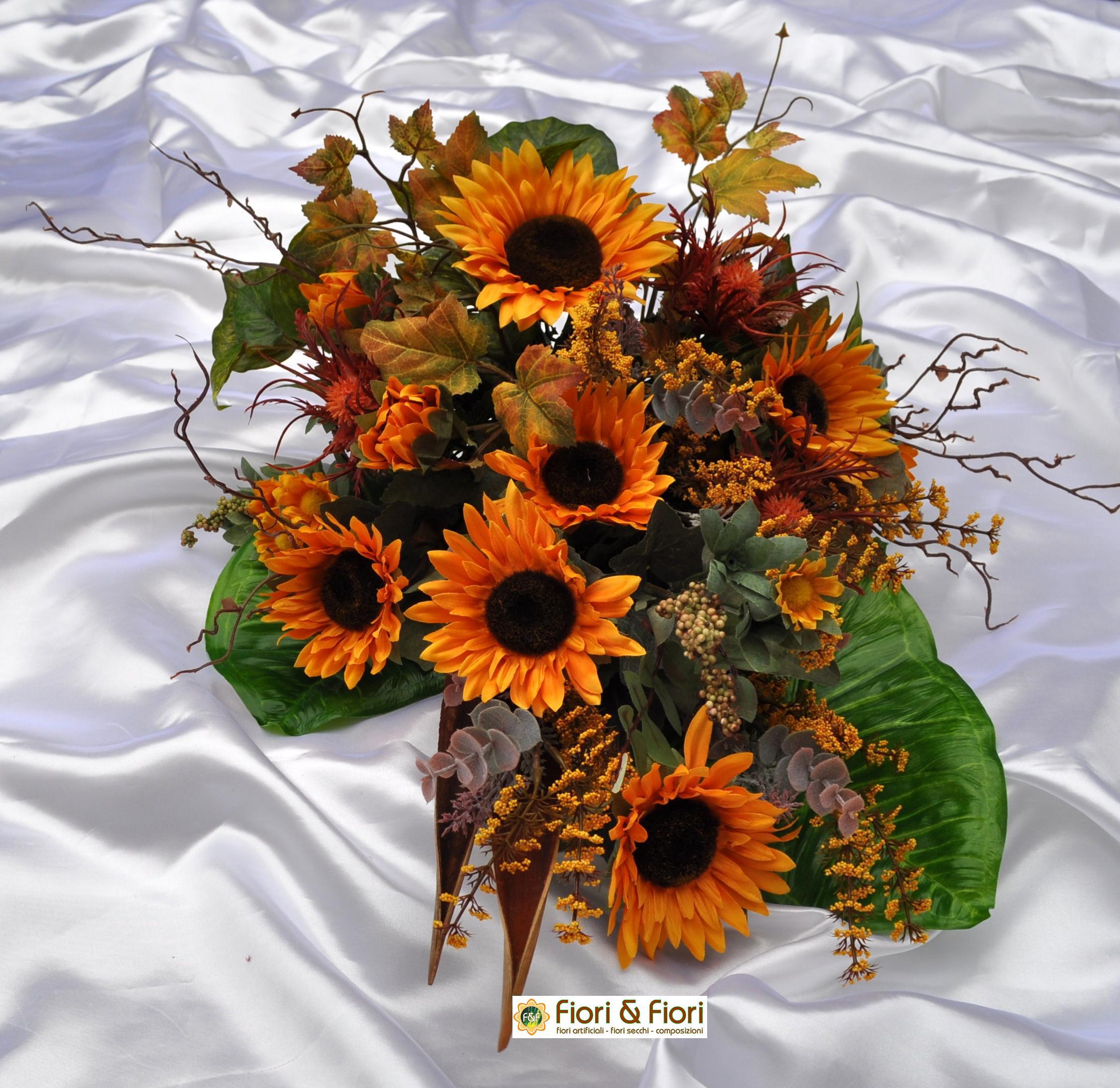Bouquet fiori artificiali girasoli country per decorazioni - Decorazioni fiori finti ...
