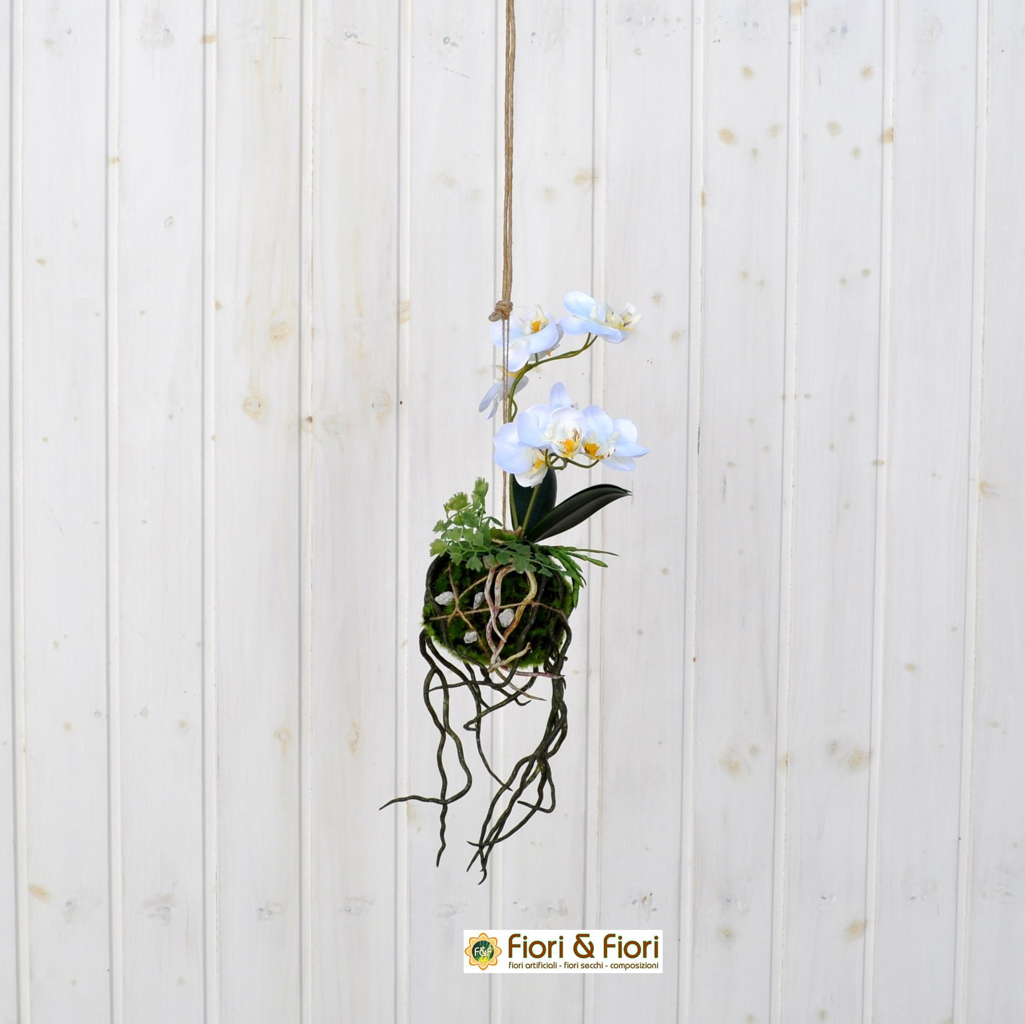 Orchidea artificiale kokedama piccola per decorazioni di for Orchidea finta