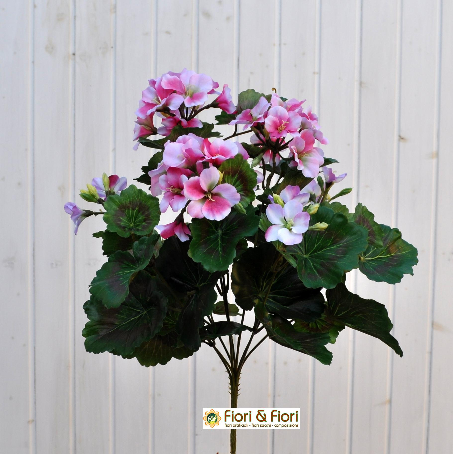 Geranio artificiale pelargonium rosa in materiale di qualit for Finta edera per balconi