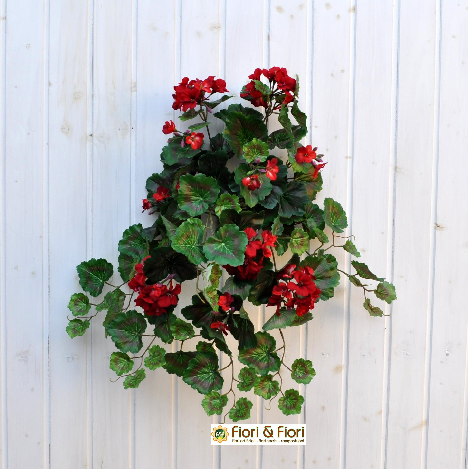 Geranio artificiale pelargonium cadente rosso per balconi for Piante artificiali milano