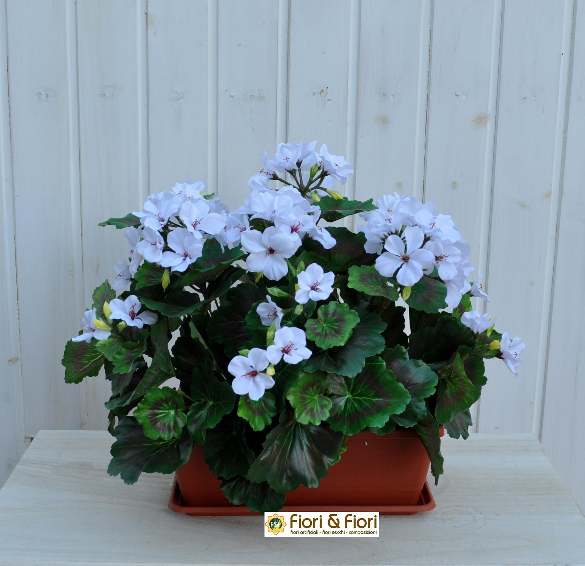 Geranio artificiale pelargonium bianco B ne