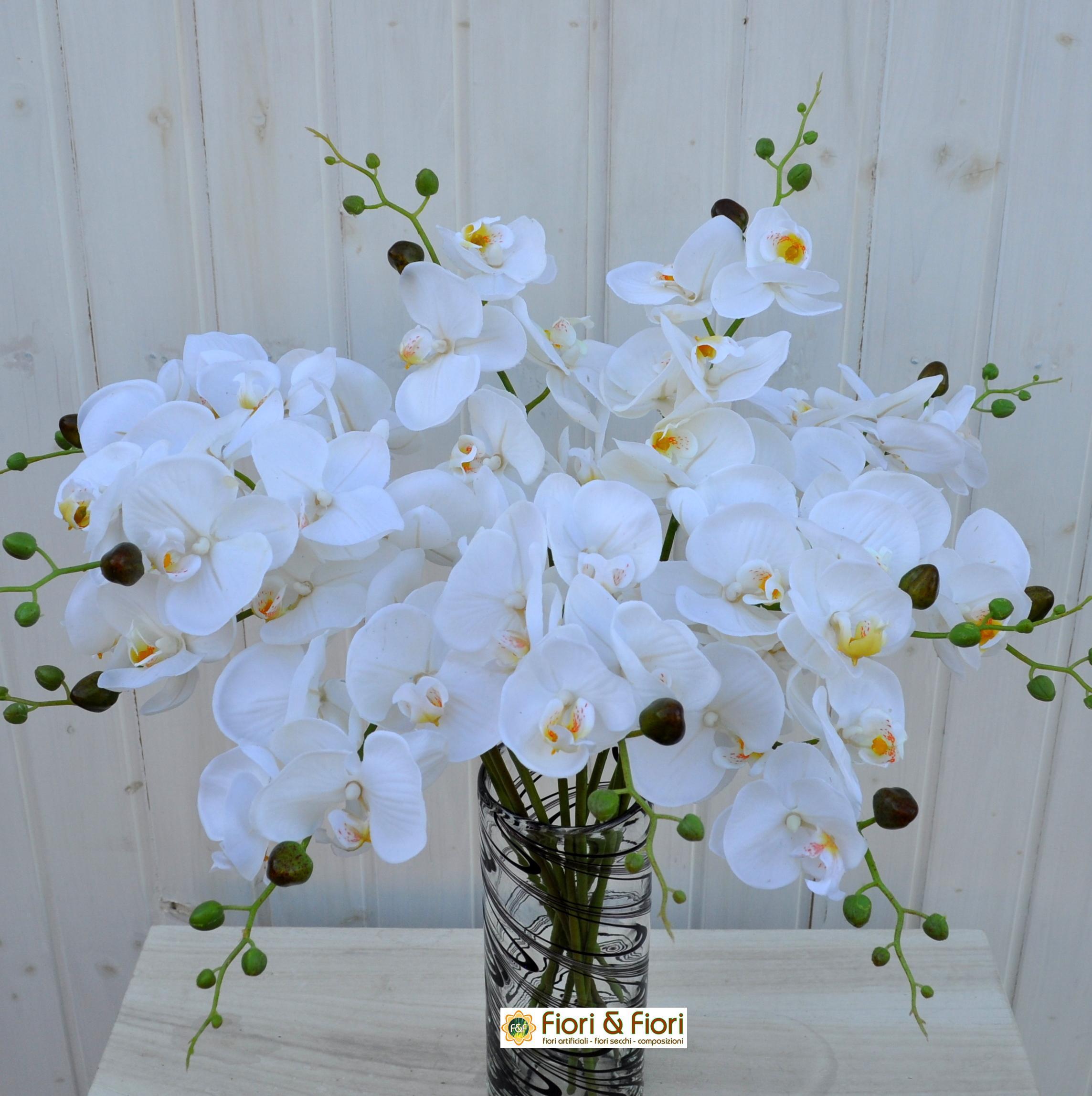 Fiore artificiale orchidea phalaenopsis real touch bianco for Orchidea finta
