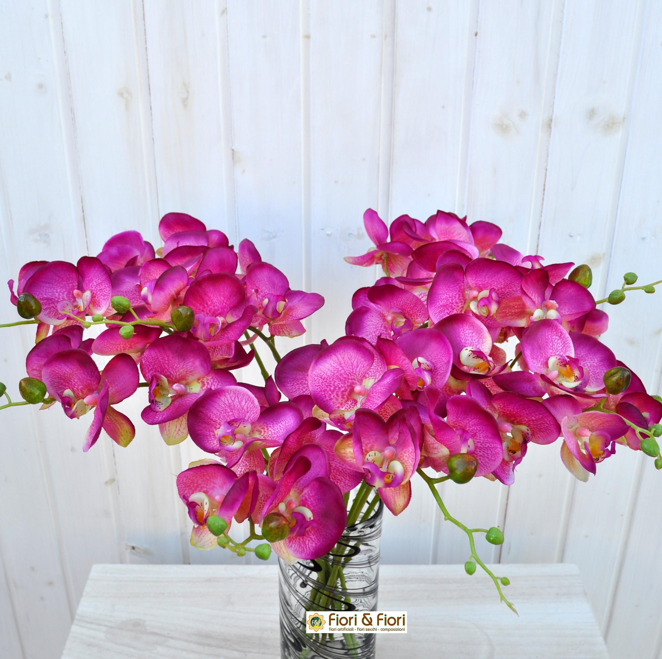 Fiore artificiale orchidea phalaenopsis real touch fucsia for Orchidea finta