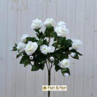 Bouquet fiori artificiali rosa gardens bianco