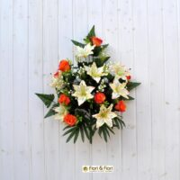Bouquet fiori artificiali lilium rose arancio