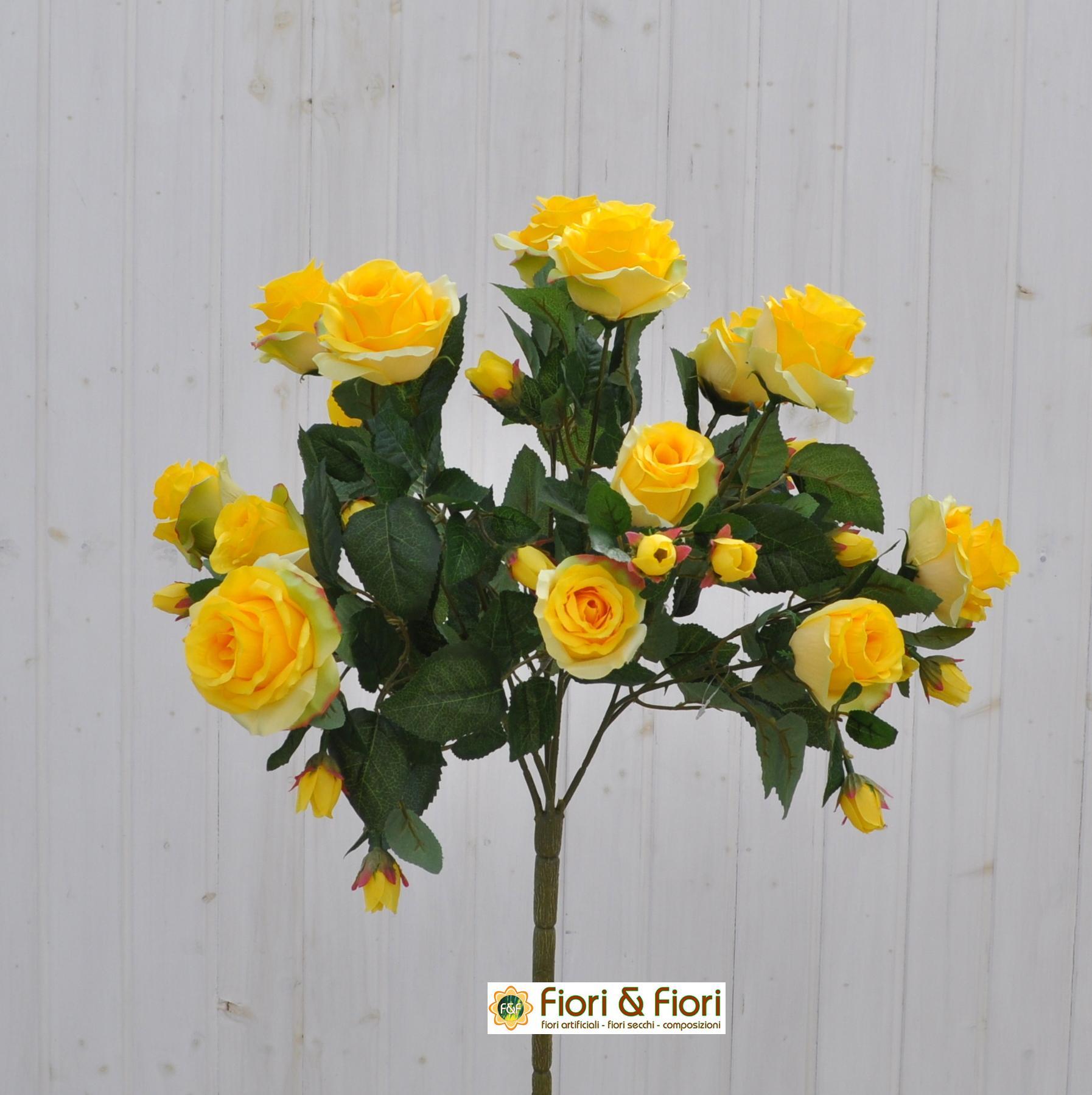 Bouquet fiori artificiali rosa gardens giallo