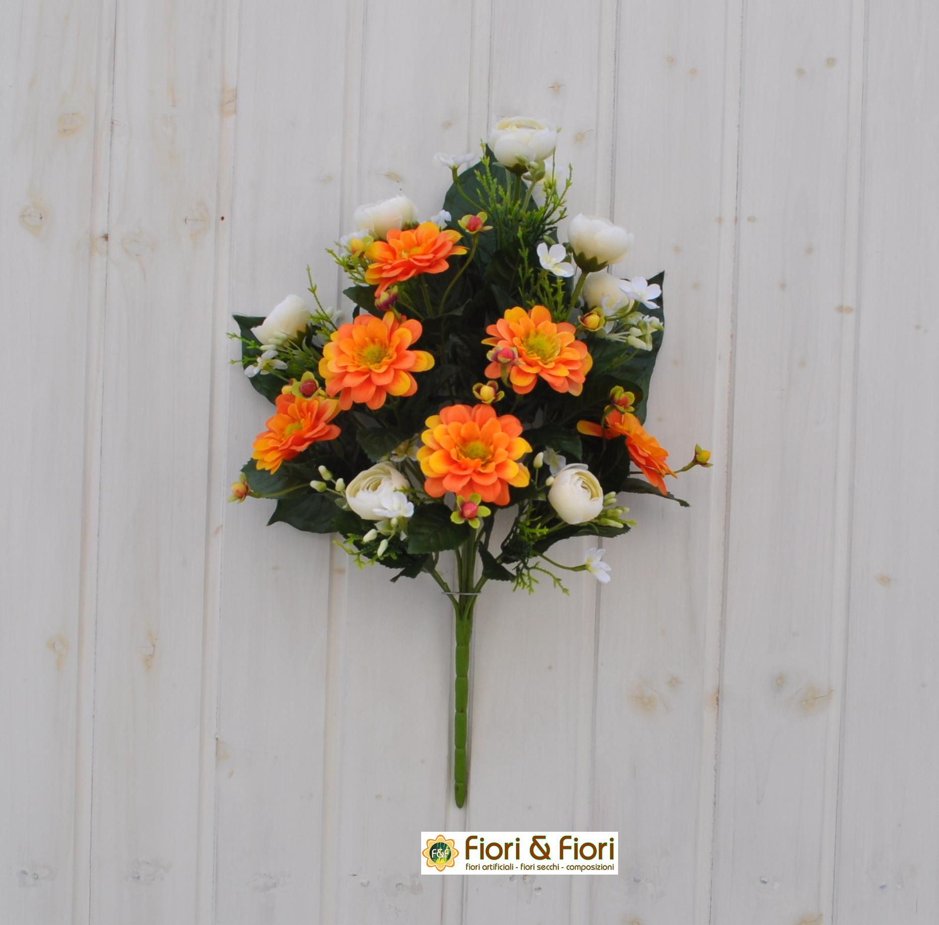 Bouquet fiori artificiali zinnia arancio