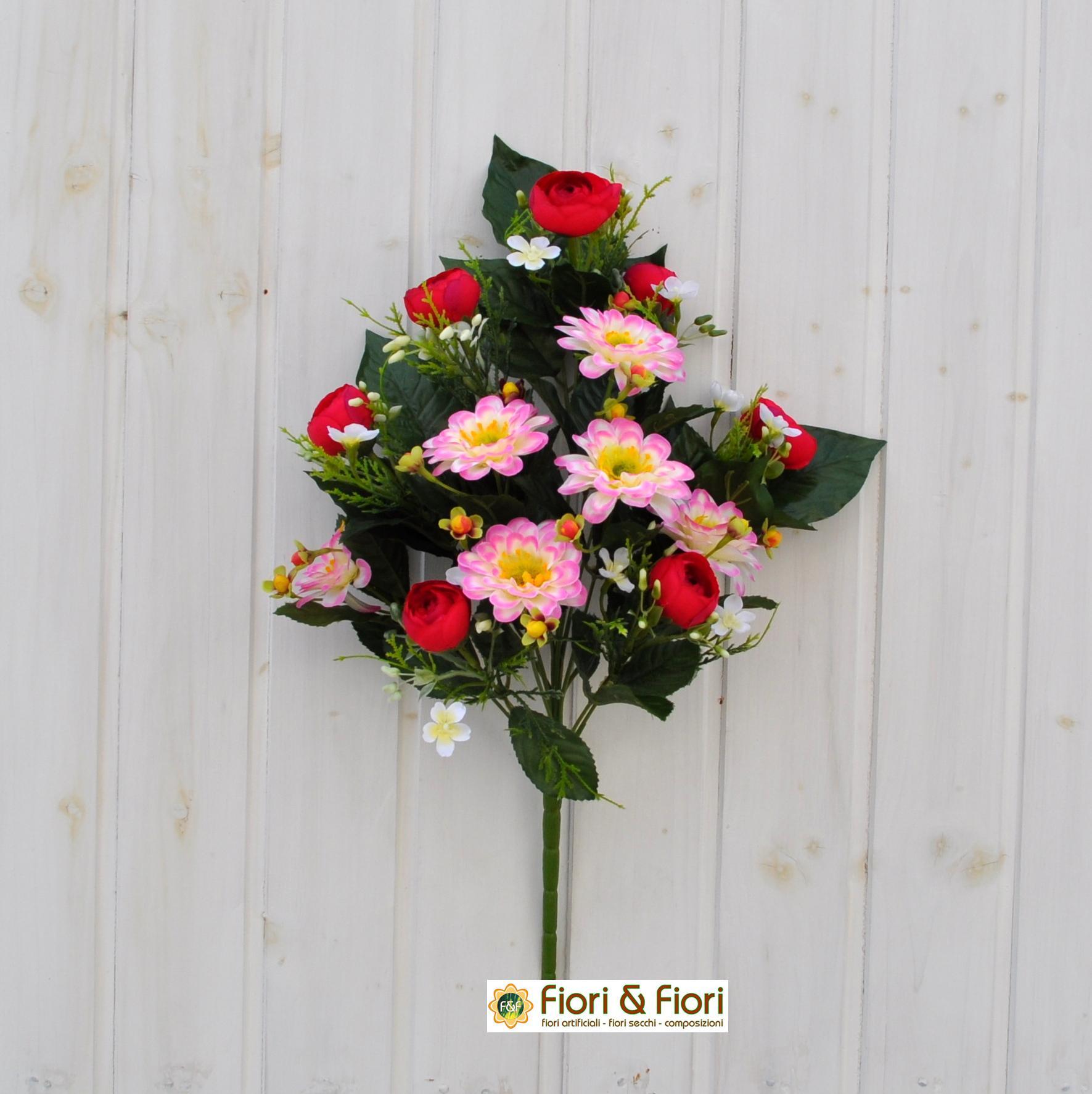 Bouquet fiori artificiali zinnia rosso