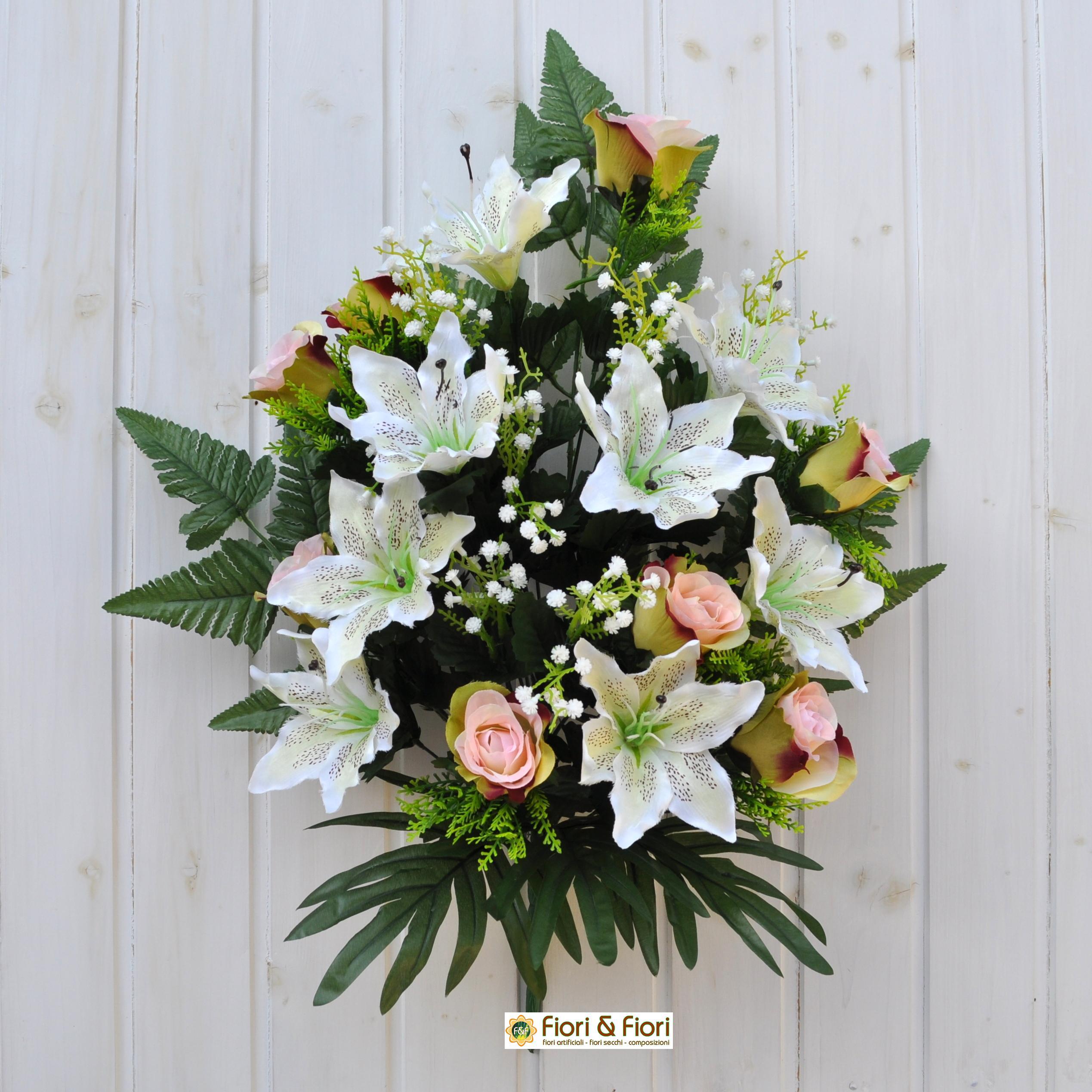 Mazzo Di Fiori Finti.Bouquet Fiori Artificiali Lilium Rose Verde Per Cimitero E Luoghi