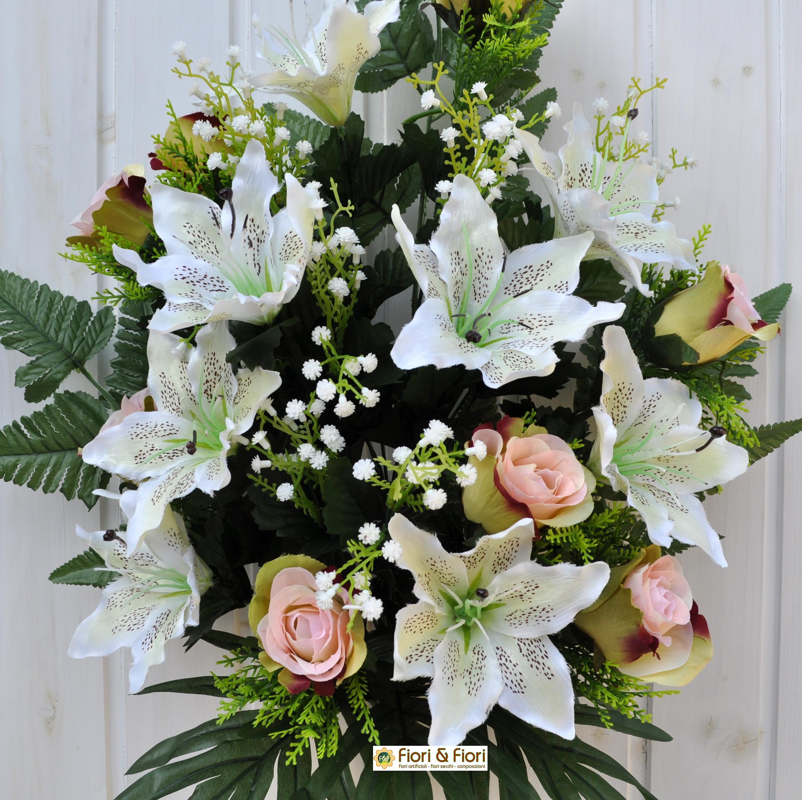 Bouquet fiori artificiali lilium rose verde per cimitero e for Composizioni fiori finti per arredamento