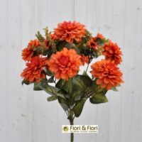 Bouquet fiori artificiali zinnia autunno arancio