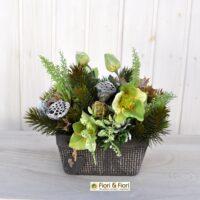 Composizione fiori artificiali Kristal verde