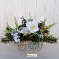 Composizione fiori artificiali Kristal bianca