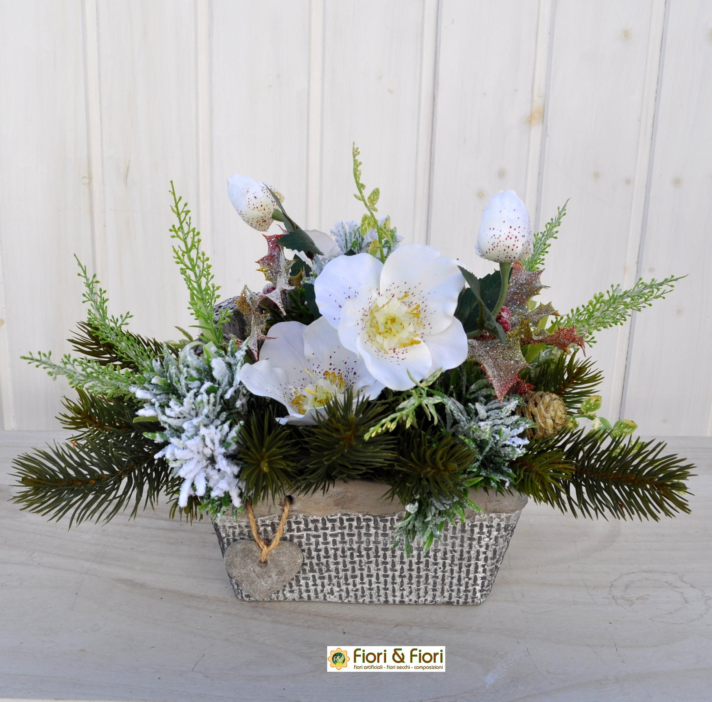 Composizione fiori artificiali kristal bianca in materiale - Decorazioni fiori finti ...