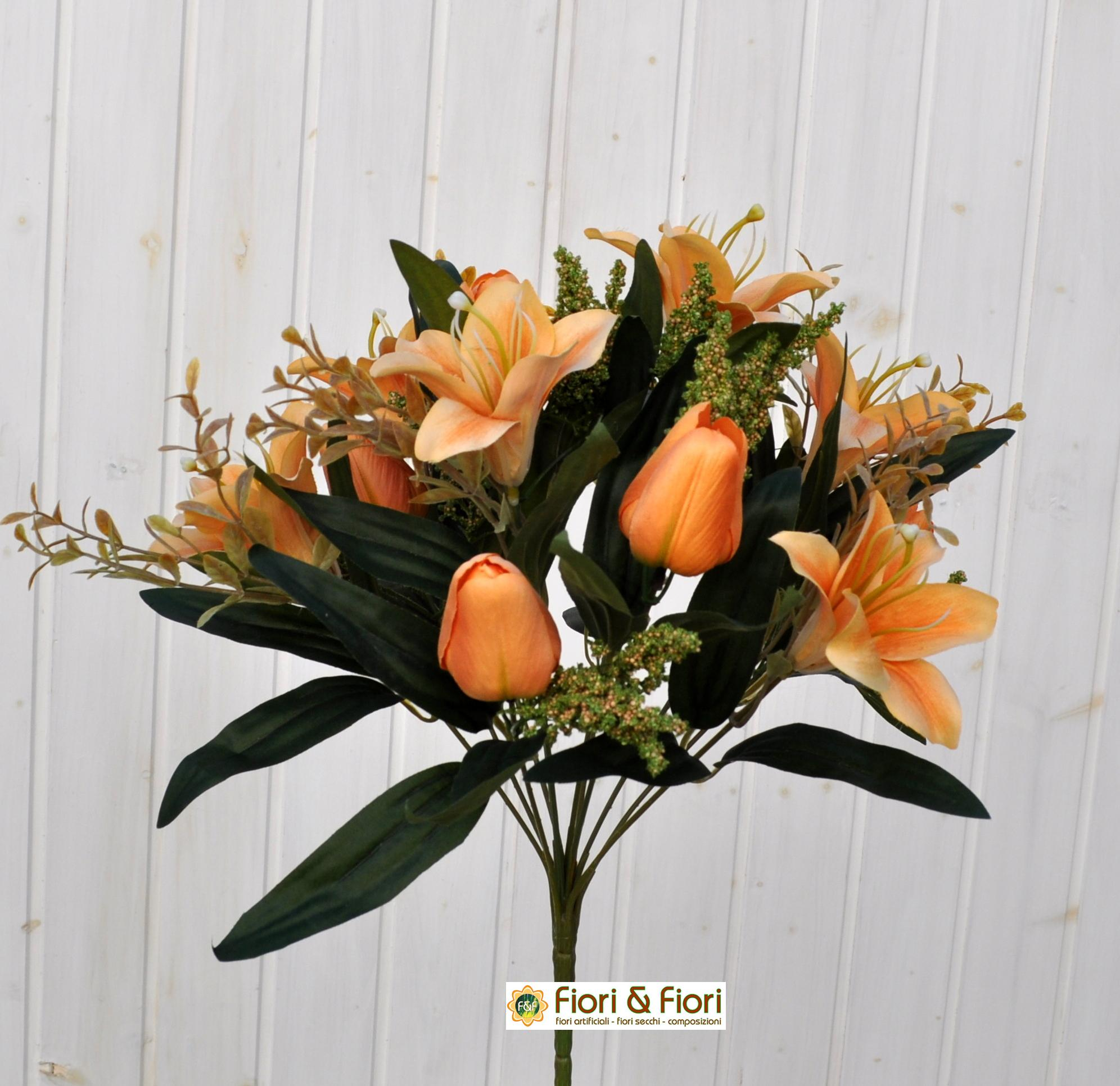 Bouquet fiori artificiali colibrì arancio