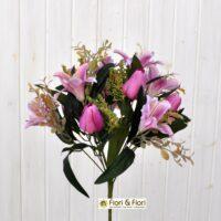 Bouquet fiori artificiali colibrì fucsia