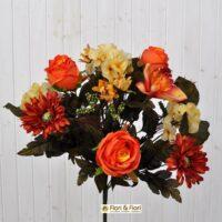 Bouquet fiori artificiali rustico arancio
