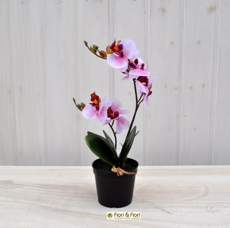 Orchidea artificiale real touch rosa in materiale di for Orchidea finta