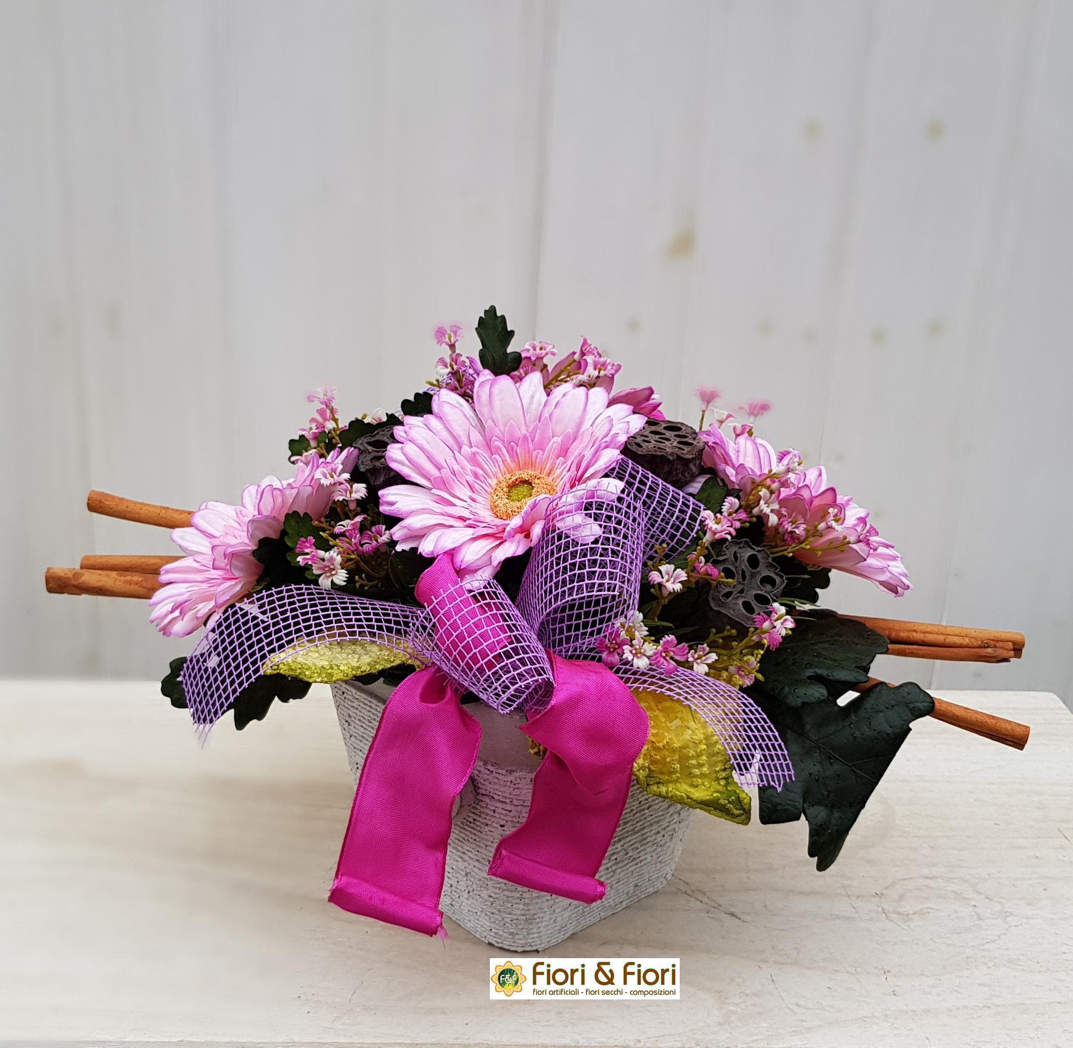 Composizione fiori artificiali Gaia rosa
