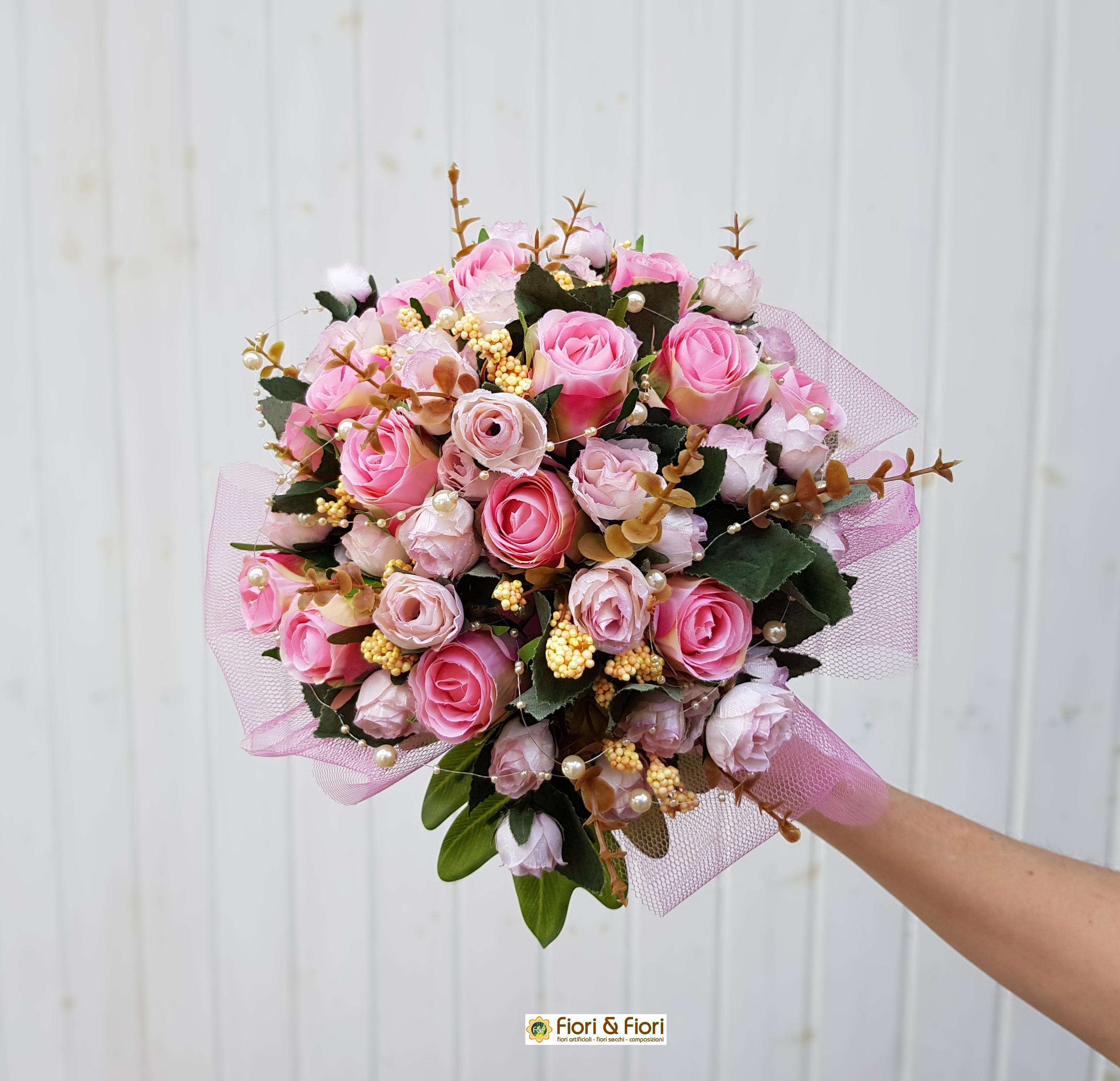 Bouquet Sposa Rose Rosa.Bouquet Da Sposa Rosa Per Cerimonie E Addobbi Nuziali