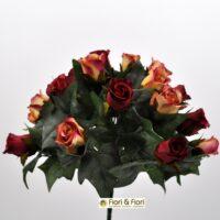 Bouquet fiori artificiali Rose Lady Mary rosso