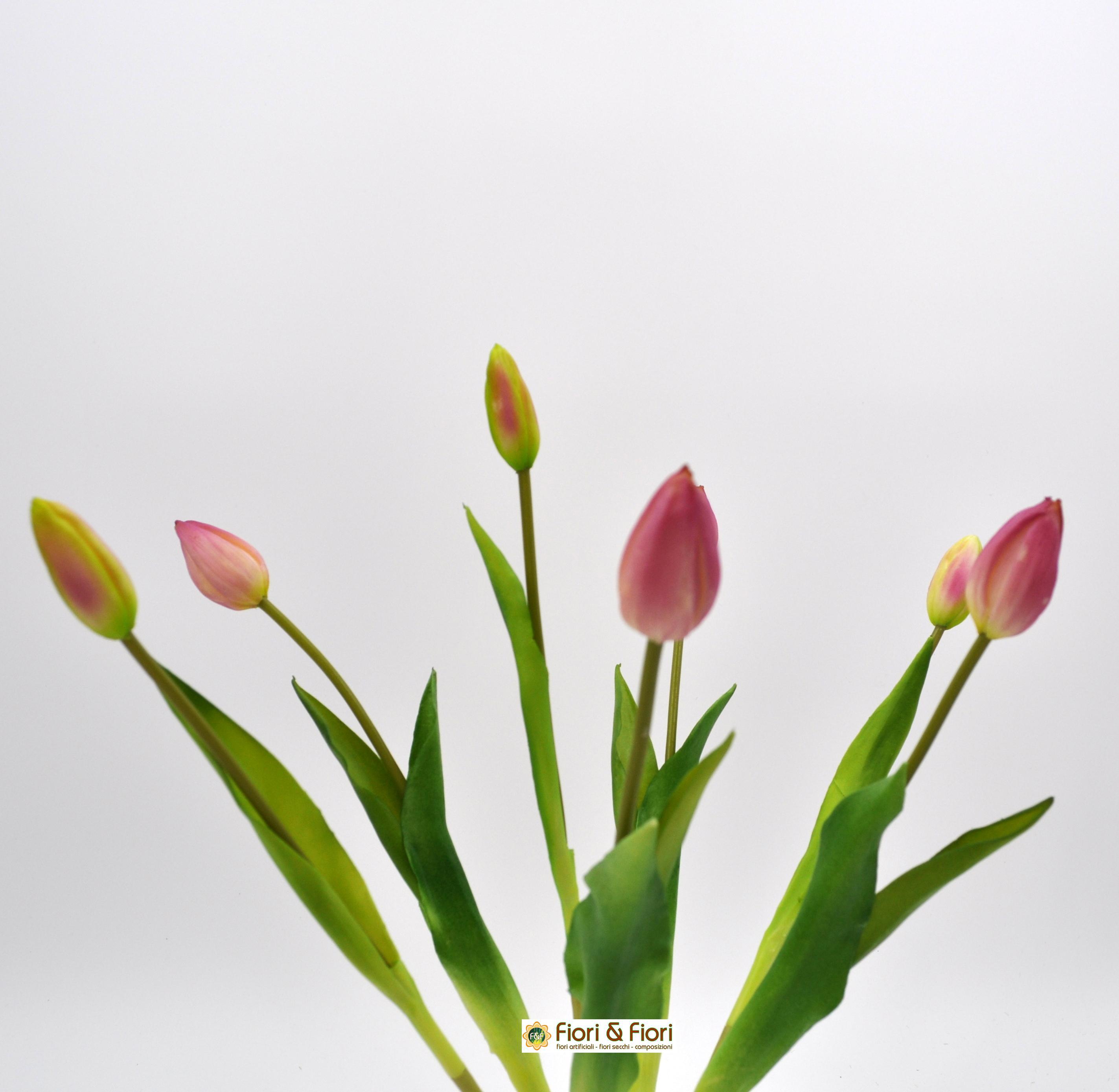 Un Mazzo Di Fiori Composto Da 5 Rose 7 Tulipani.Un Mazzo Di Fiori Composto Da 5 Rose 7 Tulipani