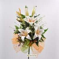 Bouquet fiori artificiali lilium summer arancio