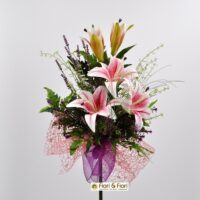 Bouquet fiori artificiali lilium summer rosa