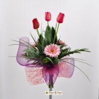 Bouquet Tulipani e Gerbera rosa