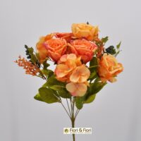 Bouquet fiori artificiali Rose shabby arancio