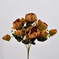 Bouquet fiori artificiali Peonia Queen arancio