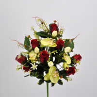Bouquet fiori artificiali Rose Orchidee rosso