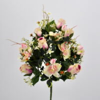 Bouquet fiori artificiali Rose Orchidee rosa