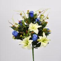 Bouquet fiori artificiali Rose Giglio blù